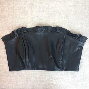Majorelle Faux Leather Lace Up Top sz L